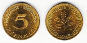 5 пфеннигов 1983 года J