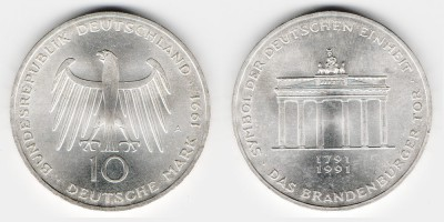 10 mark 1991 And 200 years Brandenburg Gate