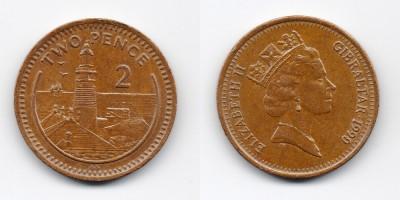 2 пенса 1990 года