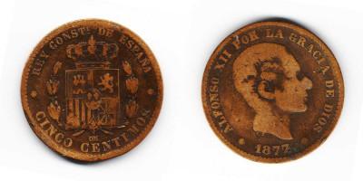 5 сентимо 1877 года