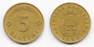 5 сантимов 1992 года