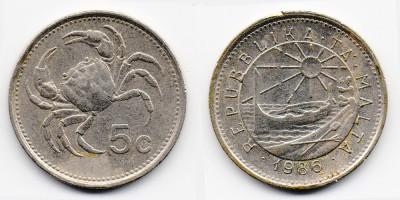 5 центов 1986 года