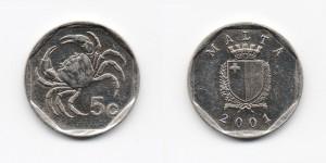 5 центов 2001 года