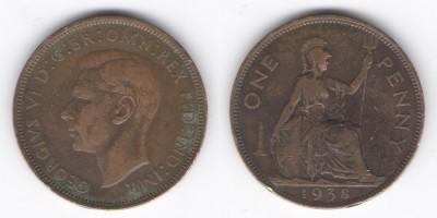 1 пенни 1938 года