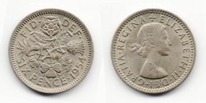 6 пенсов 1954 года