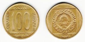 100 динаров 1989 год