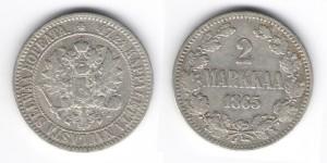 2 марки (markkaa) 1865 год S