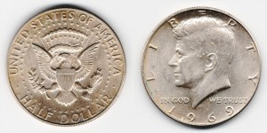 1/2 доллара 1969 года D