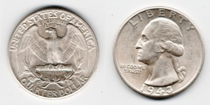 1/4 доллара 1943 года
