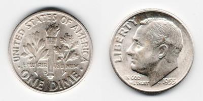 1 дайм 1955 года D