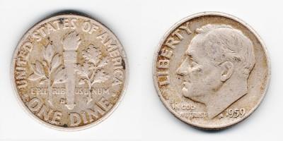1 дайм 1959 года D