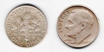 1 дайм 1964 года D