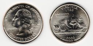 1/4 доллара 2000 года Штат Вирджиния