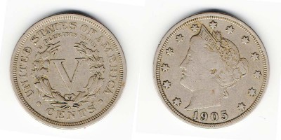 5 cents 1905