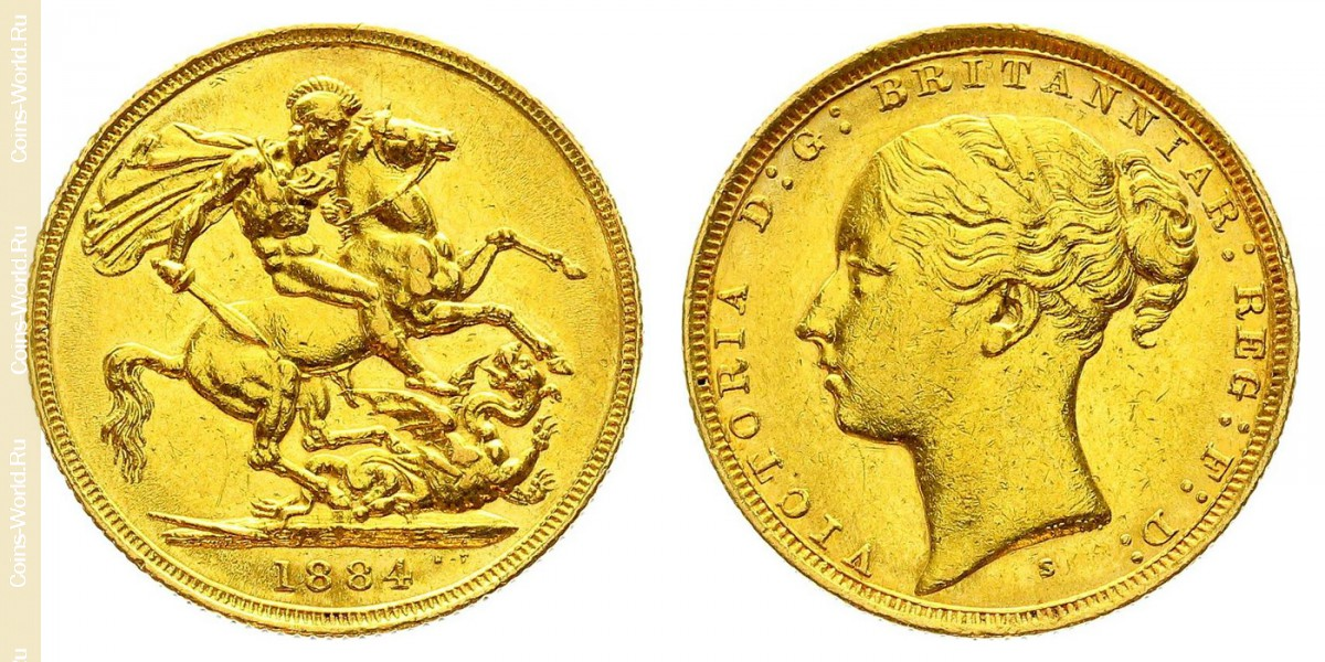 1 pound (sovereign) 1884, United Kingdom